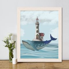 Blue Whale art painting - Whale Lighthouse - Whale print Sperm Whale wall art kids Whale nursery Ocean art painting Nautical decor