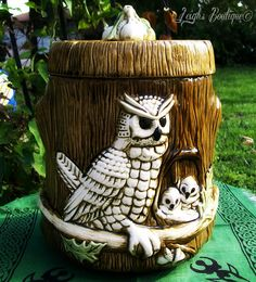 Rare 1979 Vintage Owl and Owlets Cookie Jar by leighswiccanboutique