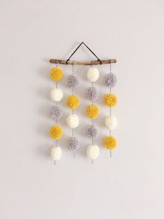 Pom Pom Hanging, Small Driftwood Garland, Nursery Decor, CUSTOM A sweet handmade Pom Pom hanging. Made to order and available in a variety of colours and styles. Yarn Crafts, Crafts To Sell, Diy And Crafts, Crafts For Kids, Arts And Crafts, Preschool Crafts, Pom Pom Garland, Pom Poms, Tulle Poms