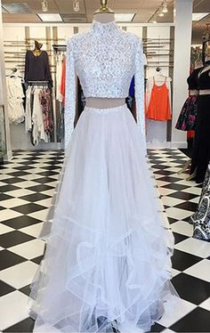 Two Piece A-line High Neck Long Sleeves Asymmetry Tiered White Prom Dress with Lace