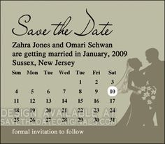 Calendar save the date magnet design- 4x3.5 inches.  #wedding