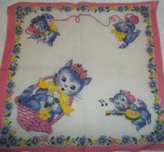Vintage Handkerchief The Three Little Kittens