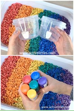 How to dye beans for sensory play – Active Littles How to dye beans for sensory play – Active Littles,Arbeit Looking for an easy and simple sensory play idea? In this sensory play video,. Toddler Sensory Bins, Baby Sensory Play, Sensory Activities Toddlers, Toddler Play, Montessori Activities, Preschool Learning, Infant Activities, Sensory Games, Babysitting Activities