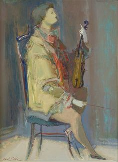 The Violinist - Raúl Soldi Argentine , Oil on cardboard, Onofrio Pacenza Vincent Van Gogh, Willem De Kooning, Music Pictures, Artist Names, Classical Music, Violin, Guitar, Art Boards, Painting
