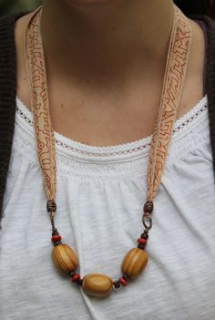 Silk Sari Ribbon Beaded Necklace by TheNextDoor on Etsy, $32.00 More of a Rustic look