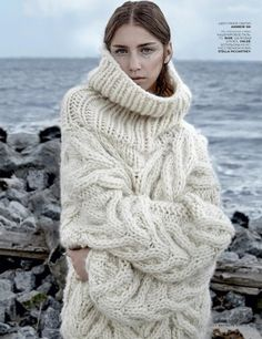 oversized cable knit turtleneck pullover