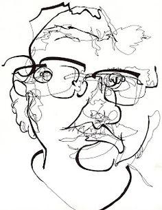 blind contour line face