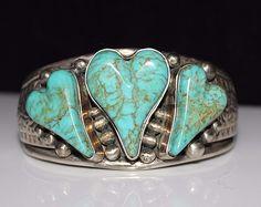 Southwestern SILVER CREATIONS, David Troutman Turquoise Heart Cuff Bracelet 925