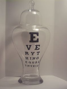 Love this eye chart apothacary jar! The Bell Jar, Bell Jars, Old Glass Bottles, Eye Chart, Apothecary Jars, Cool Things To Make, Projects To Try, Cool Stuff, Interesting Stuff