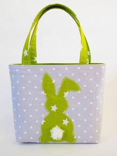 Sac cabas de Pâques lapin étoiles et pois, vert, blanc et gris : Sacs enfants par mllekameleon