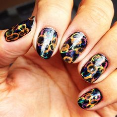 Nails watermarble water color nail art jellyfish colors black