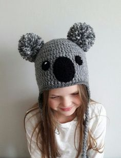 Crochet earflap hat- australian animal- KOALA BEAR. Cute accessory that will brighten up any kids outfit. Fun hat for teens and women as well. Choose your size using drop- down menu. Available hat sizes: -Newborn 13-15 (33-38cm) -Baby 1-3month 14-16 (6-40cm) -Baby 3-6month 15-17( 38-43cm)