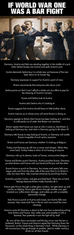 If World War 1 was a bar fight... **I found this, and no matter how mis-guided, I wanted to post it. Is this the revisionist history our children are being taught? We rifled through Germany's pockets???? DeR