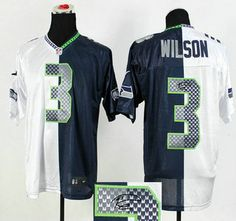 Nike Seattle Seahawks Jersey 3 Russell Wilson 2015 Super Bowl XLIX White  With Navy Blue Two Tone Elite Jerseys a186356fa