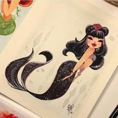 Vamp Sold today in my etsy shop by lianahee Fantasy Mermaids, Unicorns And Mermaids, Mermaids And Mermen, Amazing Drawings, Cute Drawings, Amazing Art, Mermaid Lagoon, Mermaid Tale, Mermaid Drawings