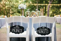 Prince + Princess wedding chair signs | 2 Friends Events