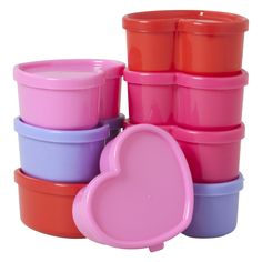8 Small Heart Shaped Plastic Food Boxes