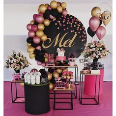 Birthday Party Decorations For Adults, Graduation Party Themes, 40th Birthday Parties, 21st Bday Ideas, Birthday Goals, Barbie Birthday, Its My Bday, Gold Party, Balloon Decorations