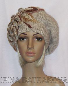 Купить Берет 104 - бежевый, берет, шапка, шапка вязаная, модная шапочка, модный берет