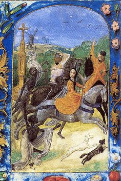 On the miniature of the 15th century Maria is hunting and followed by Death…