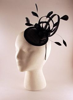 Black Sinamay and Feather Fascinator by BelledeBenoir on Etsy, $50.00