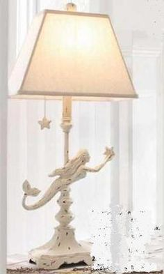 @Andrea Cunningham Coastal Decor s 2 White Washed Mermaid Table Lamp Nautical New | eBay