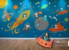 Space theme decal - Lets launch into space and explore the universe with us! This space scene comes separated. you can place the astro-monkey, planets, stars, rocket ship anywhere you wish to decorate, and the outcome will be a W-o-w! [ S I Z E ] Whole visual dimension: 180w x 96h [ D E C