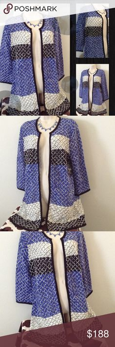Colorful Blue Kimono L Beautiful Colorful Kimono Lovely Pattern Light weight great for any season Sweaters