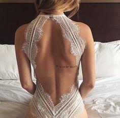White dress lace open back sexy
