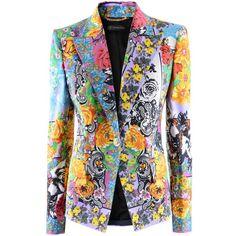 Versace Fuchsia Multi Print Blazer ($1,670) ❤ liked on Polyvore