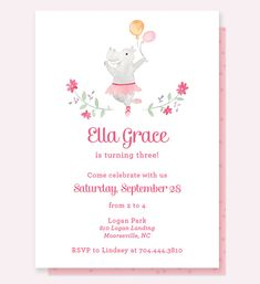 Hippo birthday card cute birthday card hip hip hooray its your ballerina birthday invitation hippo birthday invitation ballerina invitation bookmarktalkfo Image collections