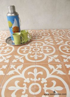 Sadus Tiles motif K-30 in white and purple | Hand made cement tiles ...