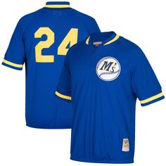Ken Griffey Jr. Seattle Mariners Mitchell & Ness Cooperstown Collection Mesh Batting Practice Quarter-Zip Jersey - Royal