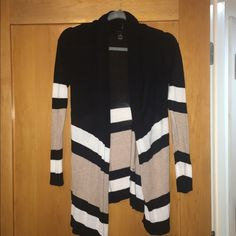 Thin soft cardigan Black with striped beige and white on bottom portion and sleeves. INC International Concepts Sweaters Cardigans