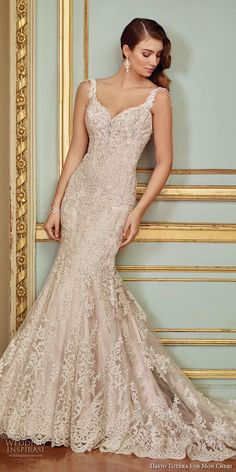 david tutera mc spring 2017 bridal sleeveless embrodiered strap sweetheart neckline full embellishment elegant glamorous fit and falre weddng dress scoop back chapel train (117288) mv -- David Tutera for Mon Cheri Spring 2017 Wedding Dresses