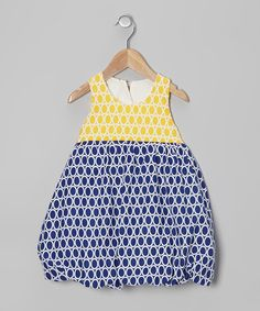Take a look at this Navy & Yellow Circle Bubble Dress - Infant & Toddler on zulily today!