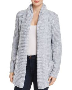 A chunky knit sets an ultra-cozy tone on this open-front cardigan from private label AQUA, topped with a shawl collar and flanked by patch pockets. Chunky Cardigan Outfit, Shawl Collar Cardigan, Cardigan Outfits, Poncho, Grey Cardigan, Gilet Long, Casual Trends, Corporate Fashion, Comfortable Outfits