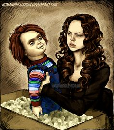 """Been wanting to make another Curse of Chucky fan art for awhile. If Chucky had come in the mail looking less """"cute'' (also if Nica had been the one pulling him from the box) Was trying to make Chuc..."""