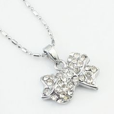Argent cute strass collier
