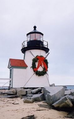 The Brant Point Lighthouse on Nantucket, Massachusetts all decked out for Christmas. |Pinned from PinTo for iPad|
