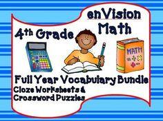 math worksheet : envision math 4th grade vocabulary cloze worksheets topics 1  20  : Envision Math 4th Grade Worksheets