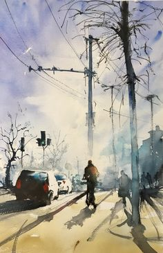 Stefan Gadnell present his watercolors and arts. Character Illustration, Sketches, Watercolor, City, Painting, Inspiration, Projects, Drawings, Pen And Wash