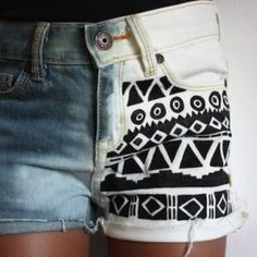 Are you loving the Aztec print craze? Make your own using bleached denim and black fabric paint. Bleach one side of your jeans and let dry. Then fine a tensil of your liking and glaze over with black fabric paint. Let dry and you have aztec print!