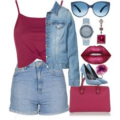 Purple Denim by egordon2 on Polyvore featuring Topshop, H&M, Yves Saint Laurent, Victoria Beckham, GUESS, Gucci, Mosevic and Lime Crime