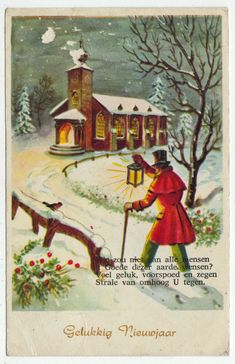 Postcards - Greetings & Congrads # 526 - Happy New Year - Winter Scene