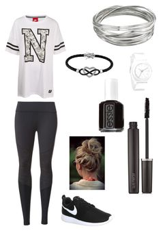 """""""Lazy Day At School"""" by zoehiphop ❤ liked on Polyvore featuring NIKE, Beyond Yoga, Whistles, Nixon, Jewel Exclusive, Laura Mercier and Essie"""