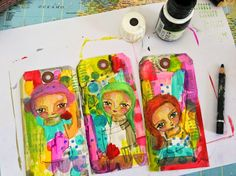 Hi everyone, today I am sharing a painting process in tags. Lot of fun ;) Grab some blank tags, acrylic paints, some stamps and a black penc...