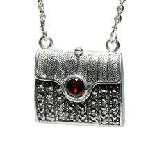 Vintage Style Sterling Silver Marcasite Purse Locket Necklace 27 inch