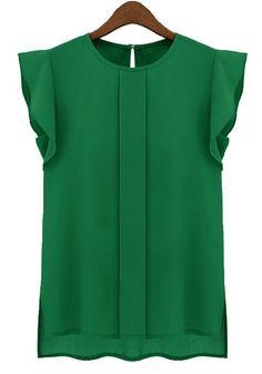 Green Round Neck Puff Sleeve Chiffon Blouse