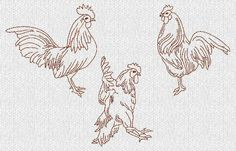 Redwork Patterns Free | Roosters and Weekdays Redwork Machine Embroidery by embroiderygirl
